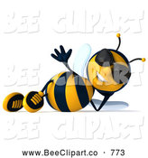 Clip Art of a 3d Bee Character Wearing Shades and Relaxing on His Side by Julos