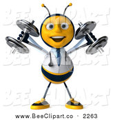 Clip Art of a 3d Bee Doctor Working out and Doing Shoulder Presses with Dumbbells by Julos