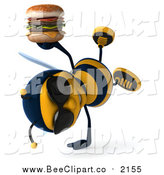 Clip Art of a 3d Bee Holding a Double Cheeseburger by Julos
