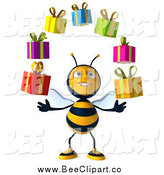 Clip Art of a 3d Bee Juggling Gifts by Julos