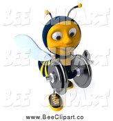 Clip Art of a 3d Bee Lifting Dummbells by Julos