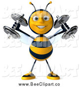 Clip Art of a 3d Bee Lifting Weights by Julos