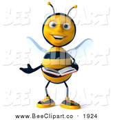 Clip Art of a 3d Bee Presenting and Reading a Book by Julos