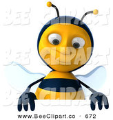 Clip Art of a 3d Bee Smiling down at a Blank Sign on White by Julos