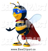 Clip Art of a 3d Bee Super Hero Facing Left and Gesturing by Julos