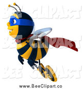 Clip Art of a 3d Bee Super Hero Flying by Julos