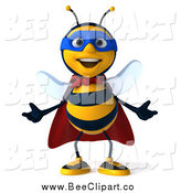 Clip Art of a 3d Bee Super Hero Gesturing by Julos