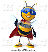 Clip Art of a 3d Bee Super Hero Holding a Thumb up by Julos