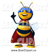 Clip Art of a 3d Bee Super Hero with an Idea by Julos