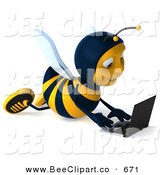Clip Art of a 3d Bee Using a Laptop on the Floor on White by Julos
