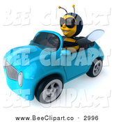 Clip Art of a 3d Bee Wearing Shades and Driving a Blue Convertible Car by Julos