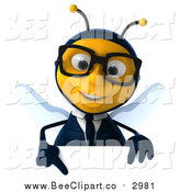 Clip Art of a 3d Bespectacled Business Bee Pointing down over a Sign Board by Julos