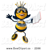 Clip Art of a 3d Bespectacled Queen Bee Jumping with a Book by Julos