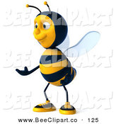 Clip Art of a 3d Bumble Bee Character Gesturing and Facing Left by Julos