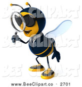 Clip Art of a 3d Business Bee Wearing Sunglasses, Facing Left, Searching with a Magnifying Glass by Julos