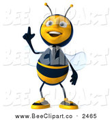 Clip Art of a 3d Business Bee with an Idea by Julos