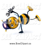 Clip Art of a 3d Cartwheeling Happy Mechanic Bee by Julos