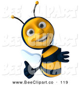 Clip Art of a 3d Cheerful Bee Character Holding a Thumb up Around a Sign by Julos