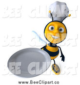 Clip Art of a 3d Chef Bee Holding up a Clean Plate by Julos