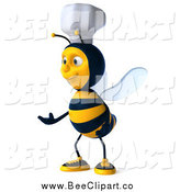 Clip Art of a 3d Chef Bee Presenting by Julos
