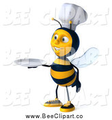 Clip Art of a 3d Chef Bee with a Plate by Julos