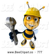 Clip Art of a 3d Construction Bee Character Holding a Wrench by Julos