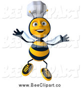 Clip Art of a 3d Excited Jumping Chef Bee by Julos