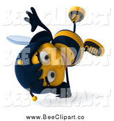 Clip Art of a 3d Female Bee Cartwheeling by Julos