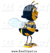 Clip Art of a 3d Female Bee Facing Right by Julos