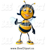 Clip Art of a 3d Female Bee Giving a Thumb up by Julos