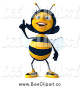 Clip Art of a 3d Female Bee Pointing up by Julos