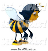 Clip Art of a 3d Female Bee Pouting by Julos