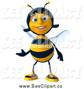 Clip Art of a 3d Female Bee Presenting by Julos