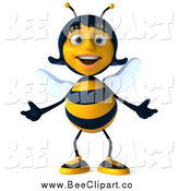 Clip Art of a 3d Female Bee Shrugging by Julos