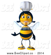 Clip Art of a 3d Female Chef Bee Presenting by Julos