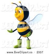 Clip Art of a 3d Gardener Bee Facing Left and Presenting by Julos