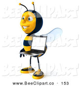 Clip Art of a 3d Happy Bee Character Facing Left and Holding a Laptop by Julos
