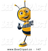 Clip Art of a 3d Happy Bee Character Holding a Thumb up Beside a Blank Sign by Julos