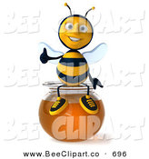 Clip Art of a 3d Happy Bee Character Holding His Thumb up and Sitting on a Bowl of Honey by Julos