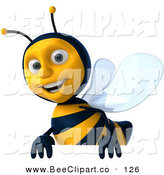 Clip Art of a 3d Happy Bee Character Smiling and Carrying a Blank Sign by Julos