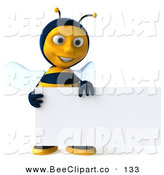 Clip Art of a 3d Happy Bee Character Smiling and Holding a Blank Business Card by Julos