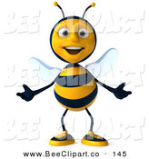 Clip Art of a 3d Happy Bee Character Standing and Gesturing with Both Hands by Julos