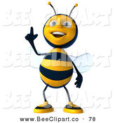 Clip Art of a 3d Happy Bee Character Standing and Pointing up by Julos
