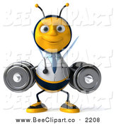 Clip Art of a 3d Happy Bee Doctor Working Out, Squatting with Dumbbells by Julos
