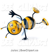 Clip Art of a 3d Happy Bee Doing a Cartwheel by Julos