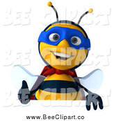 Clip Art of a 3d Happy Bee Super Hero over a Sign with a Thumbs up by Julos