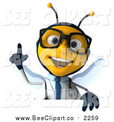 Clip Art of a 3d Happy Bespectacled Bee Doctor Holding up a Finger over a Sign by Julos