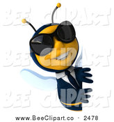 Clip Art of a 3d Happy Business Bee Wearing Shades and Smiling Around a Sign by Julos