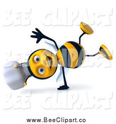 Clip Art of a 3d Happy Cartwheeling Chef Bee by Julos