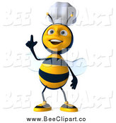 Clip Art of a 3d Happy Chef Bee with an Idea by Julos